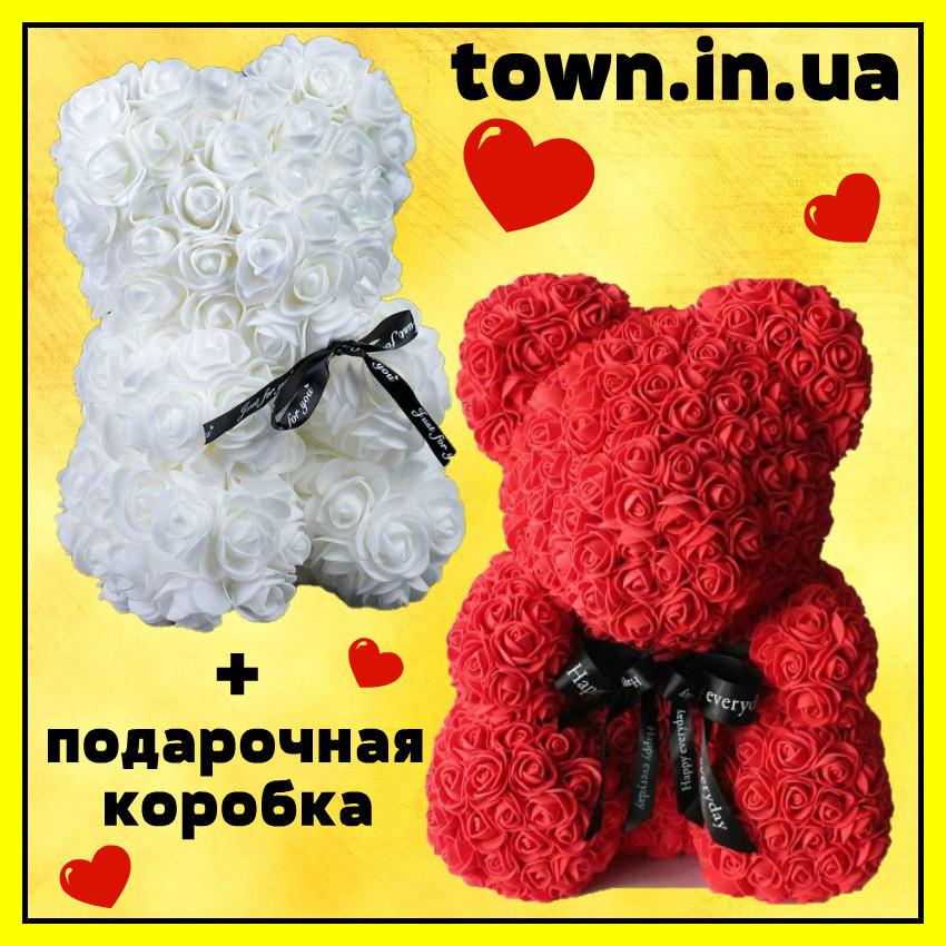 Мишка из роз в подарочной коробке 25 см БЕЛЫЙ