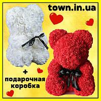 Мишка из роз в подарочной коробке 25 см БЕЛЫЙ, фото 1