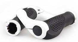 """Ергономічні велосипедні гріпси з алюмінієвими ріжками """"фікс"""" (4 кольори) БІЛИЙ"""
