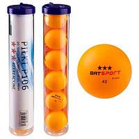Шарики для настольного тенниса BATSport, пластик, d-40мм., 6 шт. (Р-106TBP)