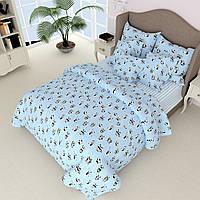 Простынь на полуторную кровать Вилена бязь Панды на голубом
