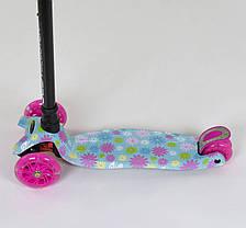 """Самокат А 25530 /779-1328 MAXI """"Best Scooter""""  пластмассовый, 4 колеса PU, СВЕТ, трубка руля алюминиевая, фото 2"""