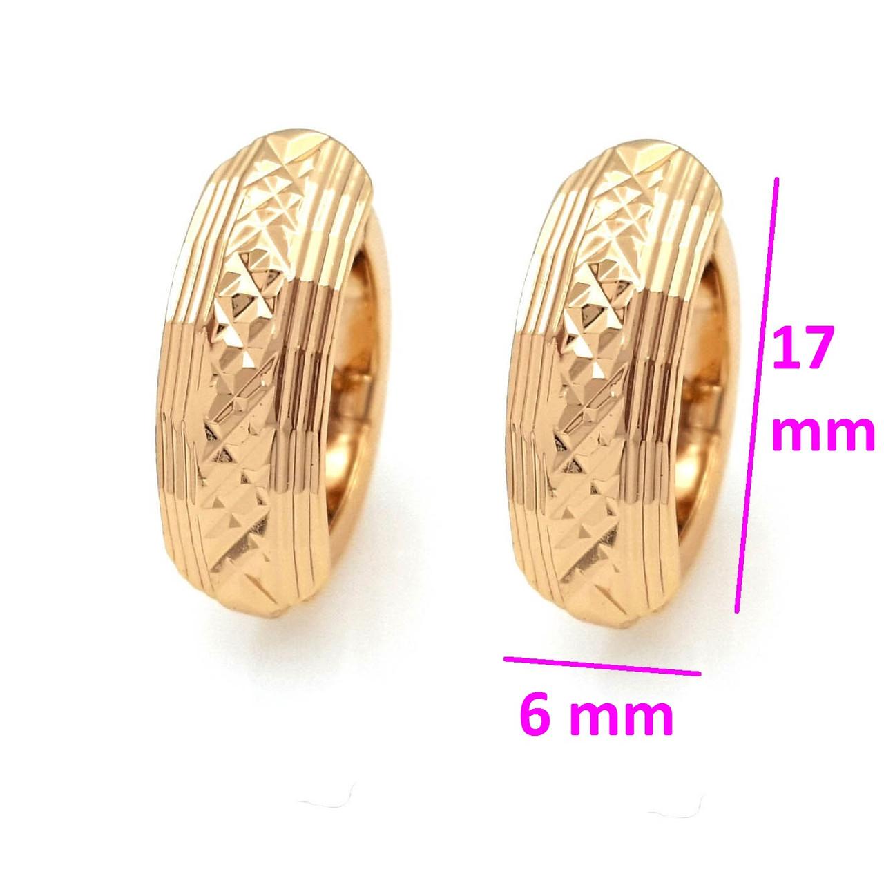 Сережки Півмісяць з різьбленим візерунком, позолота Xuping, 18К
