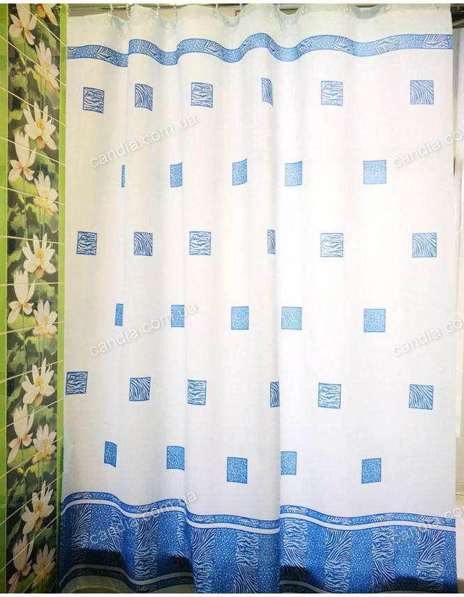 """Штора в ванную точный размер 180x200 см """"Диамант"""", цвет голубой"""