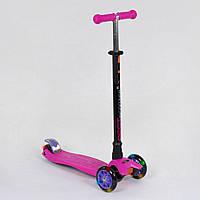 Самокат детский трехколесный со светящимися колесами Best Scooter Maxi 466-113 / А 24437 розовый