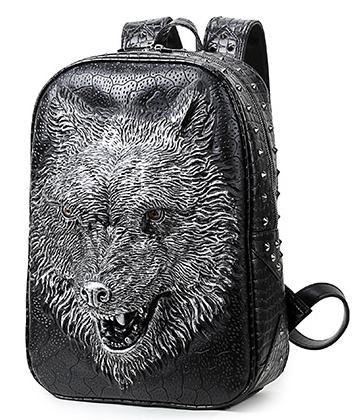 "Рюкзак 3D ""Оборотень / werewolf / волк"" с тиснением (Эко-кожа)"