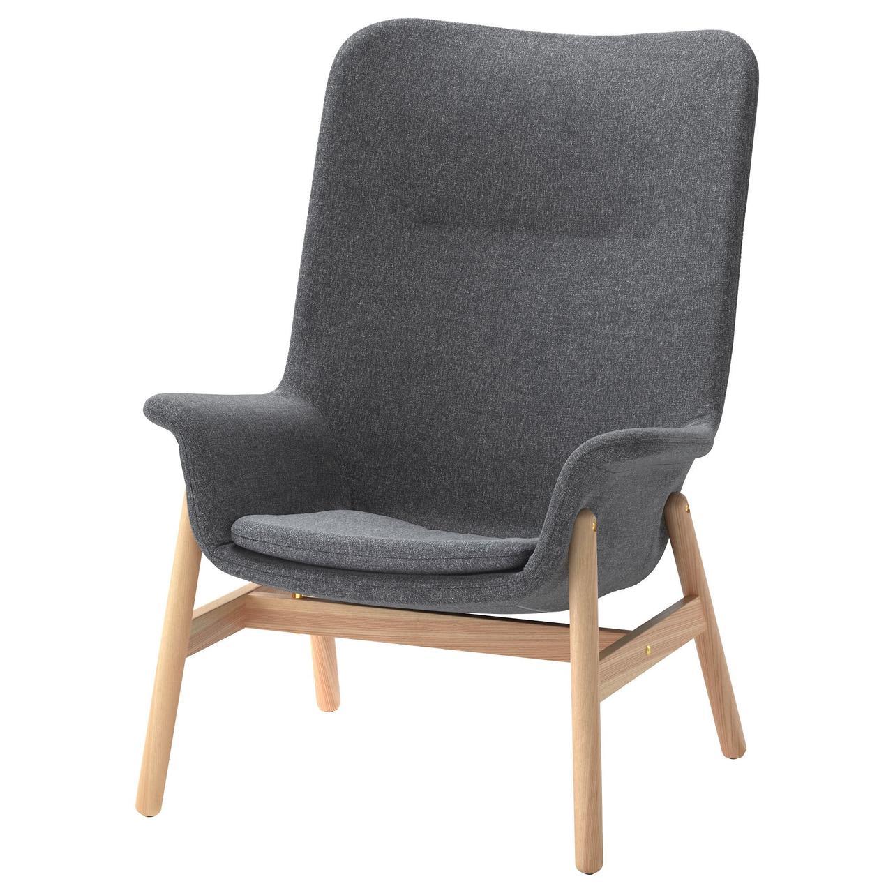 Кресло c высокой спинкой IKEA VEDBO Gunnared темно-серое 104.241.31