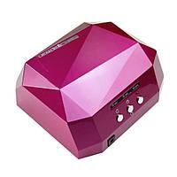 Лампагибрид кристалл CCFL+LED на 36W для маникюра и педикюра — малиновая