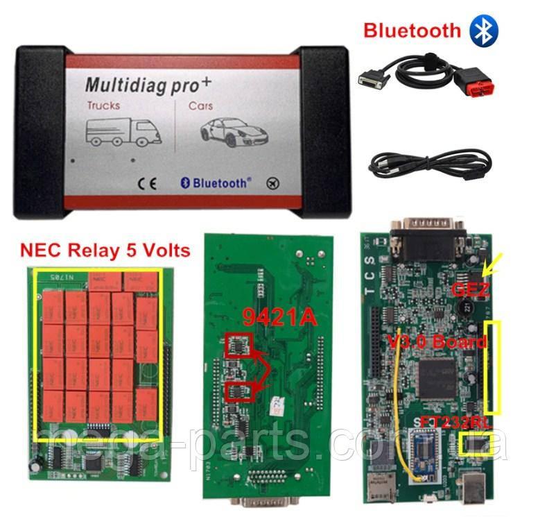 Автомобильный Сканер Multidiag Pro  Bluetooth  (Delphi 150e) 2016.1v Делфи, Автоком, Мультидаг про