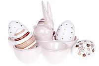 Подставка для 5-ти яиц керамическая Кролик, цвет - розовый перламутр 733-288, фото 1