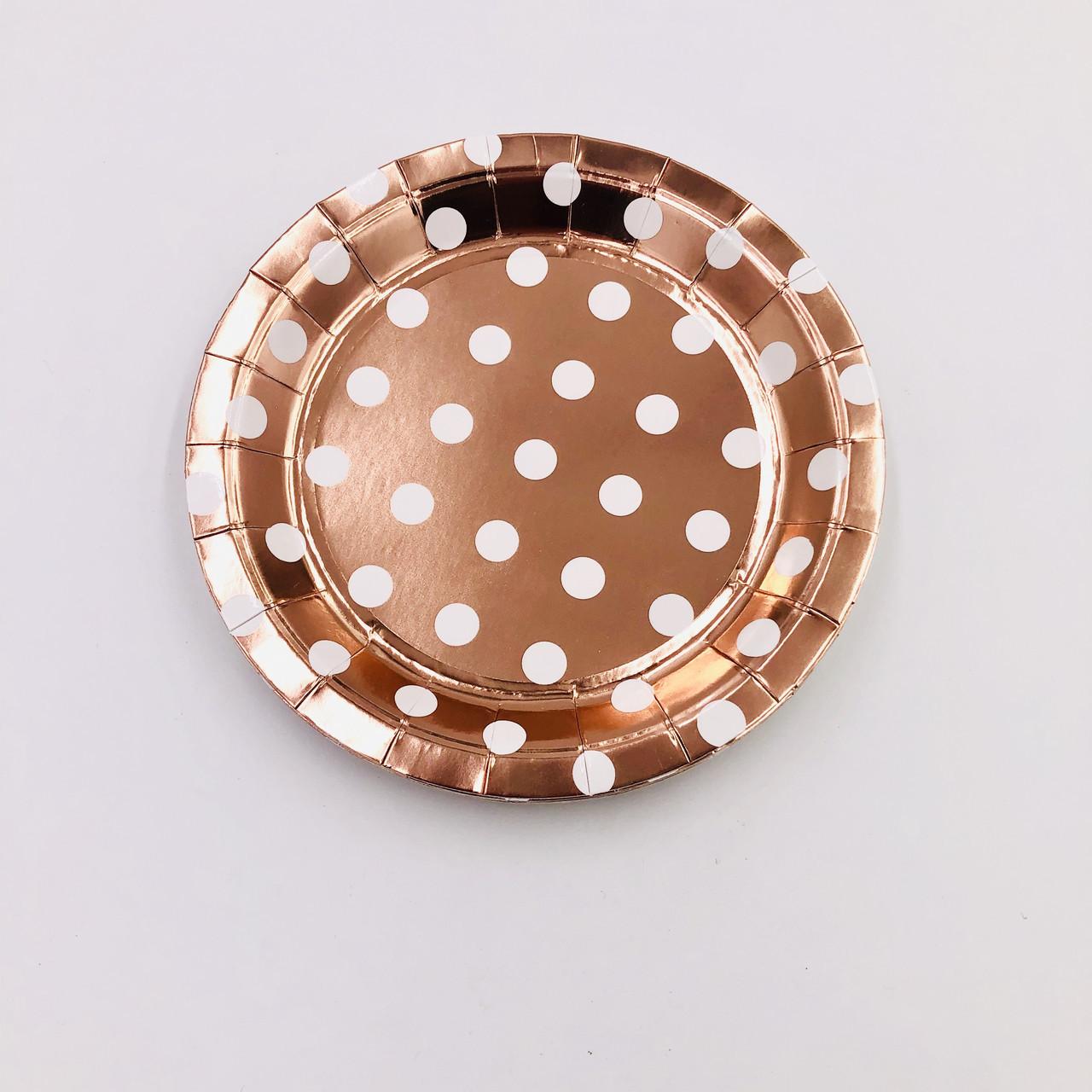 Тарелки одноразовые праздничные розовое золото