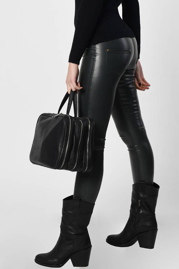 Женские брюки-леггинсы кожаные темно-зеленые, фото 2