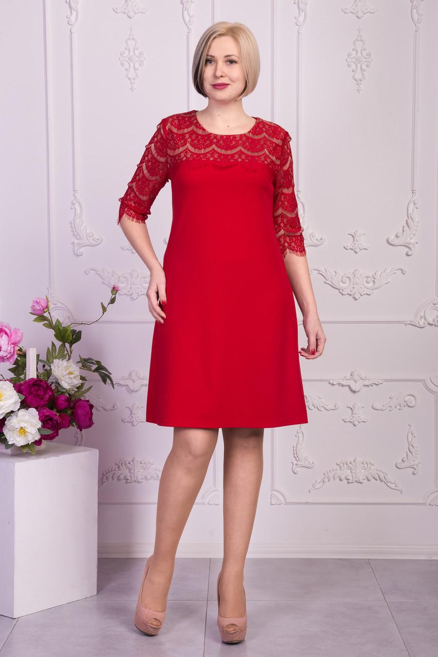 Женственное платье с гипюровыми рукавами
