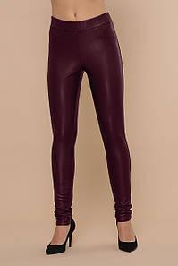Женские зимние брюки-леггинсы кожаные бордовые