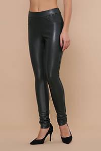 Женские теплые брюки-леггинсы кожаные темно-зеленые