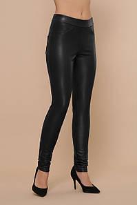 Женские теплые брюки-леггинсы кожаные черные