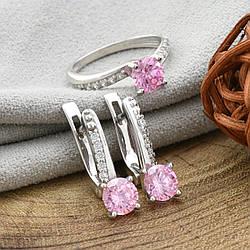 Серебряный набор Ш649 кольцо + серьги 18х6 мм вставка розовые фианиты размер 17