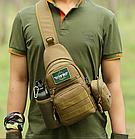 Сумка-слинг (с одной лямкой) тактическая наплечная Protector Plus X216 с отделением для фляги / бутылки, фото 5