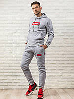 Мужской спортивный костюм Supreme серый на флисе