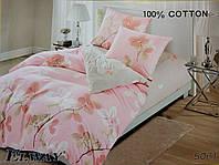 Сатиновое постельное белье полуторное ELWAY 5061 «Листики»