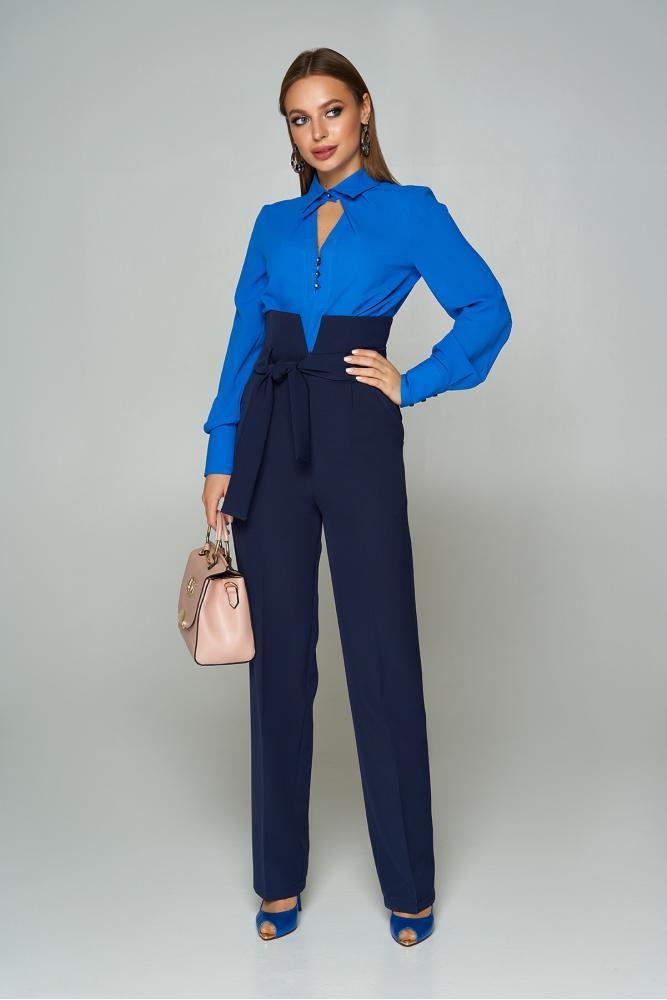 Женские брюки с высокой талией и поясом темно-синие