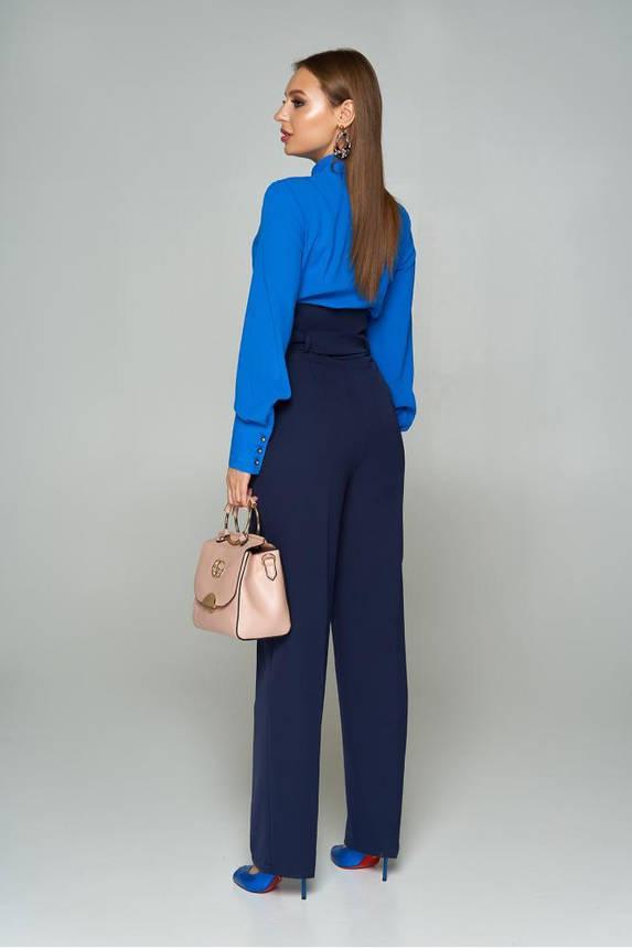 Женские брюки с высокой талией и поясом темно-синие, фото 2