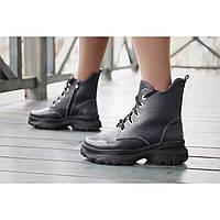 Женские зимние ботинки из натуральной кожи темно-синего цвета на шнурках и молнии