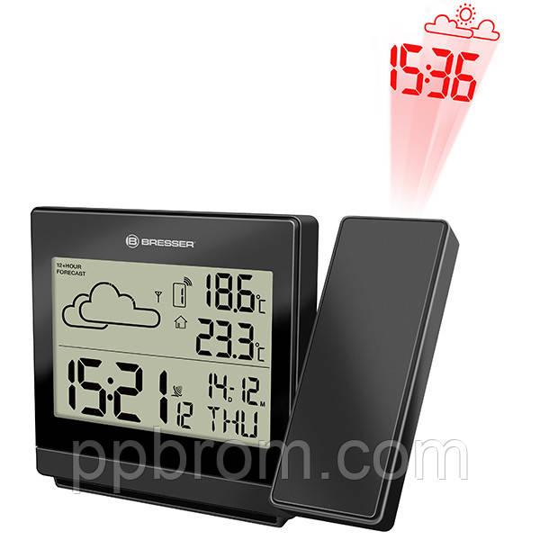 Метеостанция - часы с проекцией на стену Bresser TemeoTrend P black (Германия)