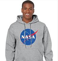 """Размер L Толстовка Худи NASA серое с логотипом, унисекс (мужская,женская,детская) """""""" ТОП Реплика """""""" утепленная"""