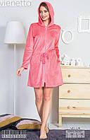 Женский халат с капюшоном цвет розовый