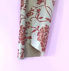 Бумага для упаковки пион на крафте красный 2 м