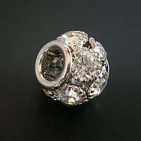 Бусина Pandora (Пандора) посеребренная со стразами P9020737