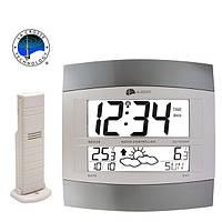 Метеостанция настенная + часы + выносной датчик La Crosse WS6158IT-S-ALU (Франция)