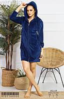 Женский халат с капюшоном цвет синий