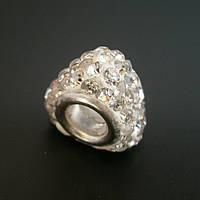 Бусина Pandora (Пандора) посеребренная со стразами P9020739, фото 1