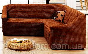 Накидка на диван без оборки, коричневый