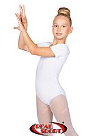 Гимнастический купальник короткий рукав, белый GM030137 (хлопок, р-р 0-M, рост 98-146 см)