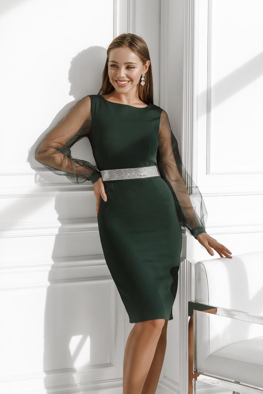 Женское платье с поясом из камней Изумрудный