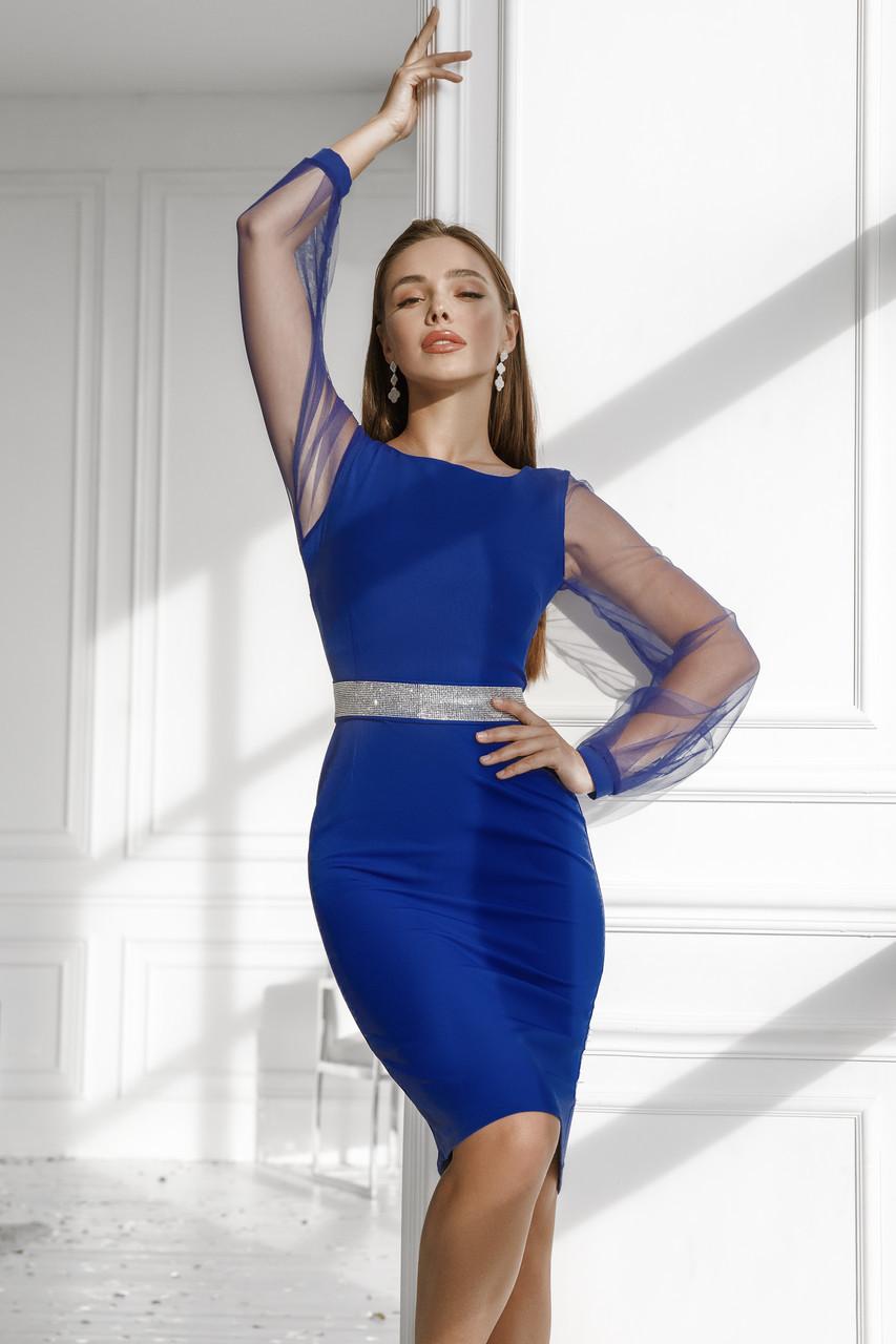 Женское платье с поясом из камней Электрик