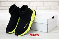 Кроссовки женские Balenciaga Speed Trainer черные с желтой подошвой