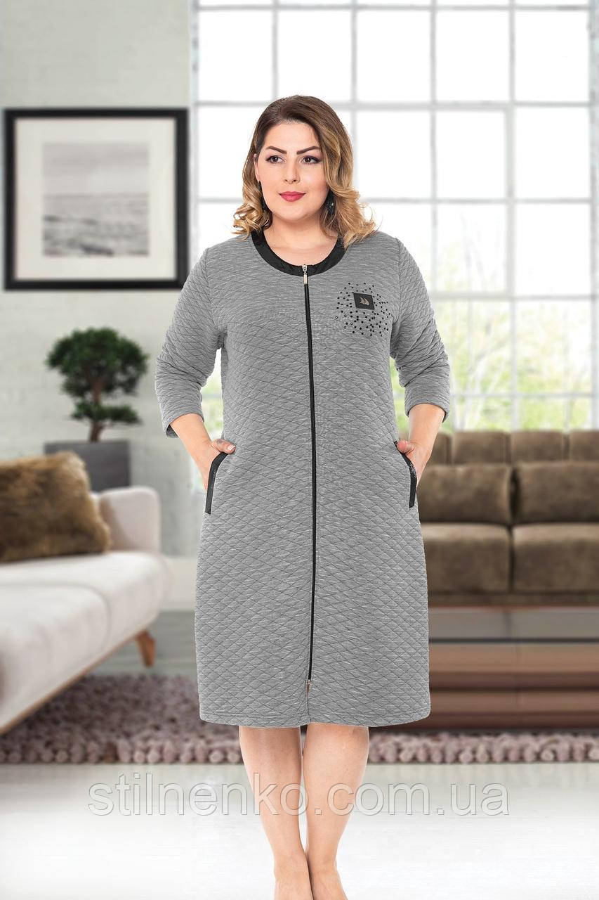 Женский халат на молнии с карманами Батал
