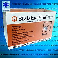 Голки 6 мм для інсулінових шприц-ручок Microfine / Микрофайн універсальні 100 шт.