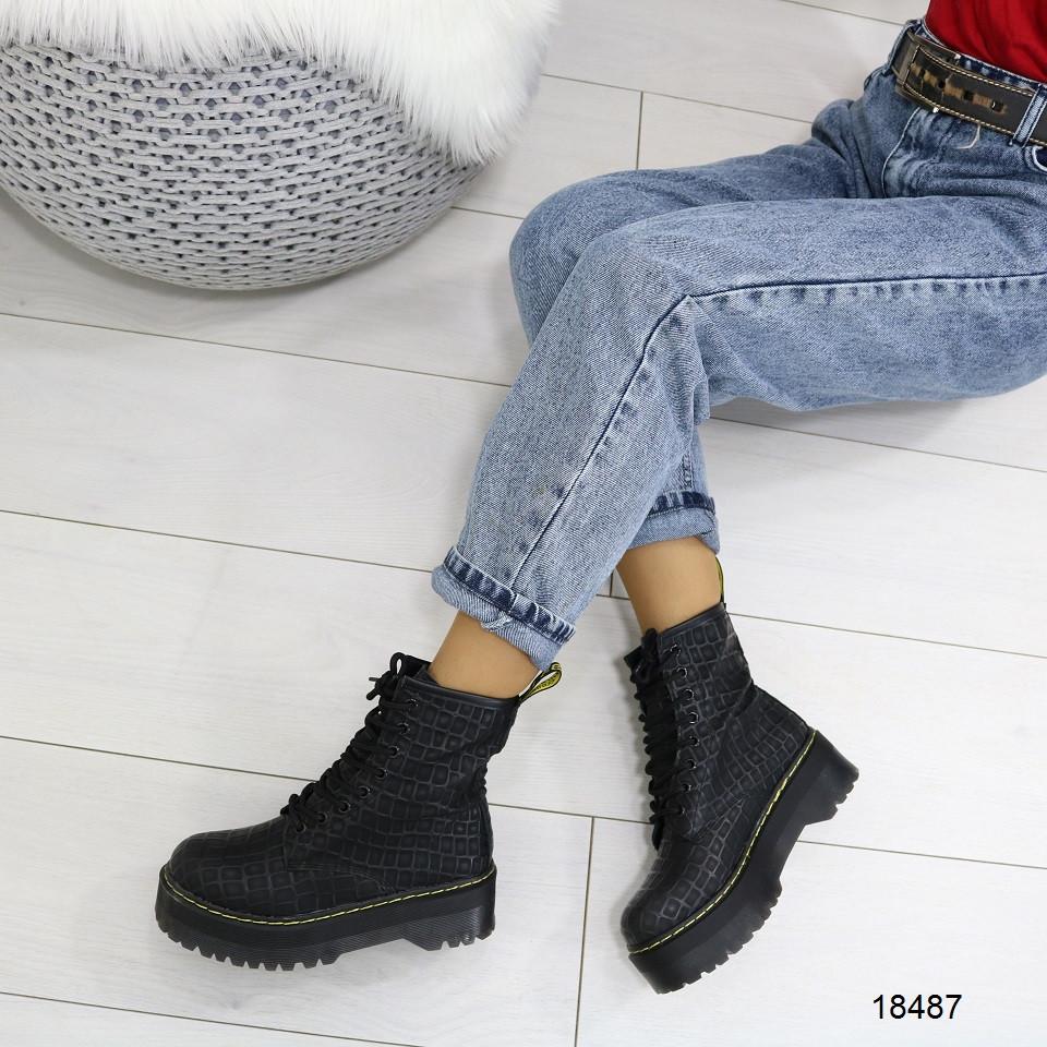 Женские демисезонные ботинки высокие на шнуровке, А 18487