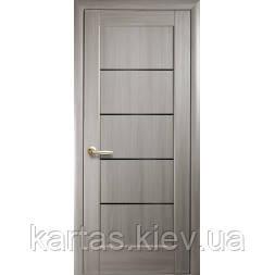 Дверное полотно Мира Ясень New с черным стеклом