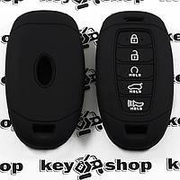 Чехол (черный, силиконовый) для смарт ключа Hyundai (Хундай) 5 кнопки