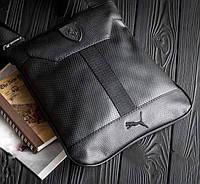 Мужская сумка через плечо / планшет в стиле Puma Italy Leather / Черная
