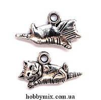 """Метал. подвеска """"котик"""" серебро (1,2х2 см) 12 шт в уп."""