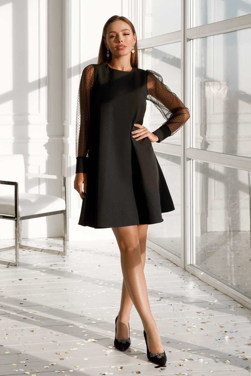 Женское платье с вырезом на спине Черный