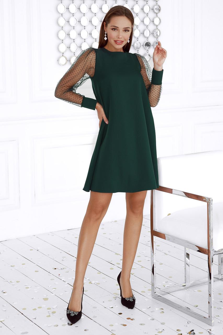 Женское платье с вырезом на спине Изумрудный