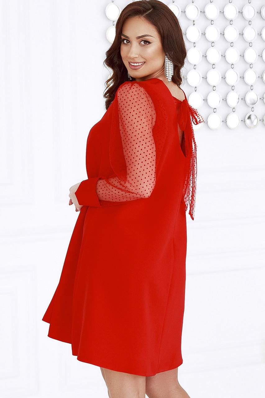Женское платье с вырезом на спине Батал Красный